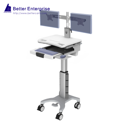 Dual Monitors Height Adjustable Mobile Computer Cart (Foot Pedal)