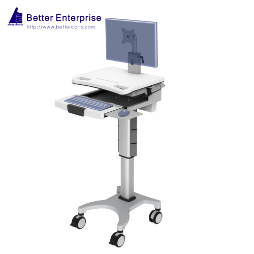 Height Adjustable Mobile Computer Cart (Hand Lever)