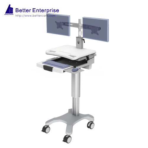 Dual Monitors Height Adjustable Mobile Computer Cart (Hand Lever)