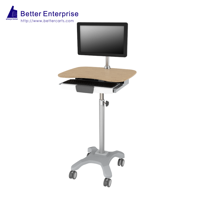 Height Adjustable Light Duty Computer Cart (with Monitor Holder)
