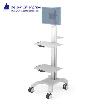 Mobile Equipment Cart with LCD Monitor Mount and 2 Shelves