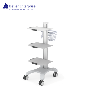 Mobile Equipment Cart with 3 Shelves and Utility Basket