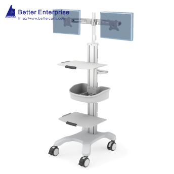 Mobile Equipment Cart with Dual LCD Monitor Mount, 2 Shelves and Utility Bin