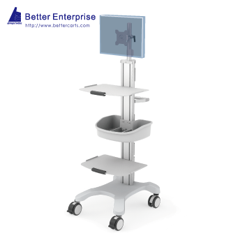 Mobile Equipment Cart with LCD Monitor Mount, 2 Shelves and Utility Bin