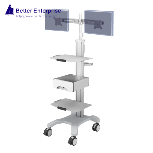Mobile Equipment Cart with Dual LCD Monitor Mount, 2 Shelves and Storage Drawer