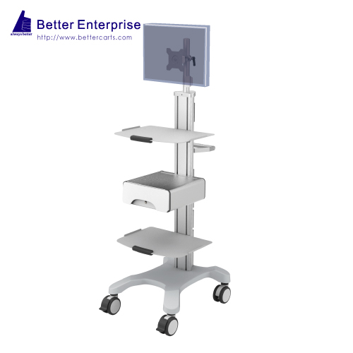 Mobile Equipment Cart with LCD Monitor Mount, 2 Shelves and Storage Drawer
