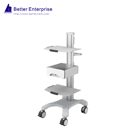 Mobile Equipment Cart with 2 Shelves and Storage Drawer
