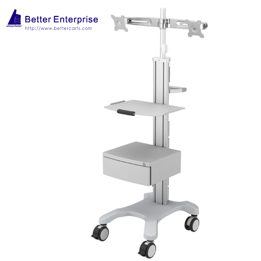 Mobile Equipment Cart with Dual LCD Monitor Mount, 1 Shelf and Storage Drawer