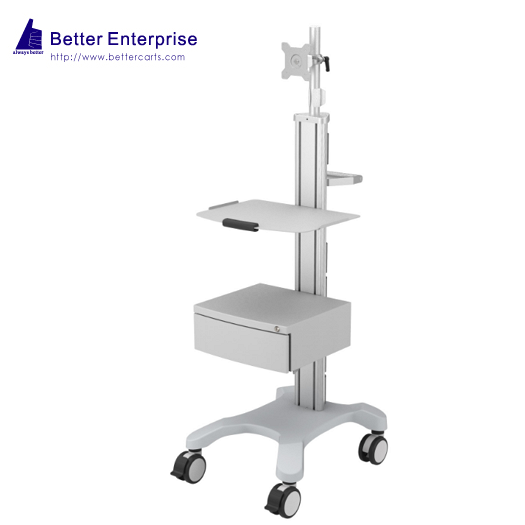 Mobile Equipment Cart with Monitor Mount and Large Storage Drawer