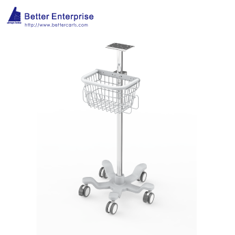 "Fixed Height Medical Roll Stand with Basket (20"" Base)"