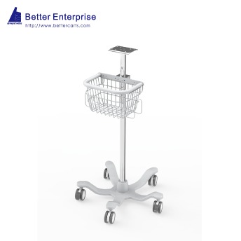 "Fixed Height Medical Roll Stand with Basket (24"" Base)"