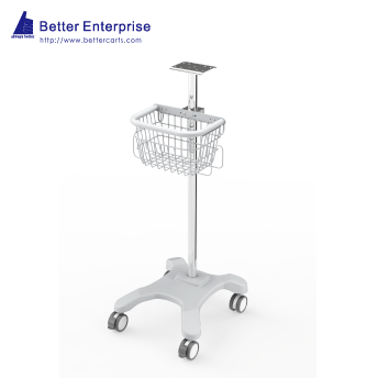 Fixed Height Medical Roll Stand with Basket (4 Prongs Base)