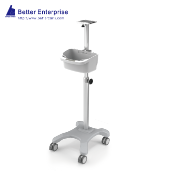 Patient Monitor Roll Stand with Multi-Purpose Utility Bin (4-Leg Base)