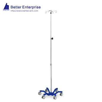 "3-Section Heavy Duty Infusion Pump Stand (24.5"" Cast Iron Base)"