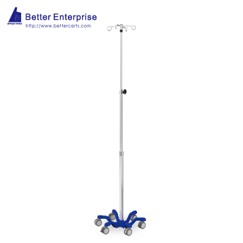 "3-Section Heavy Duty Infusion Pump Stand (22"" Cast Iron Base)"