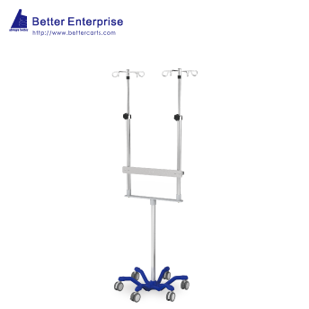Dual Pole Heavy Duty Infusion Pump Stand (24.5 Cast Iron Base)