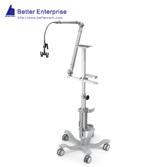 Ventilator Cart with Vertical Humidifier Mounting System