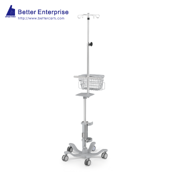 Ventilator Cart with Vertical Humidifier Mounting System and Telescopic IV Pole