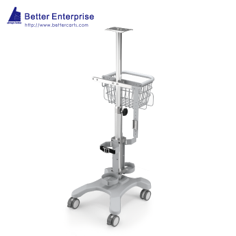 Ventilator Cart with Vertical Humidifier Mounting System (4 Prongs Base)
