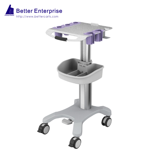 Height Adjustable Ultrasound Cart with 5 Probe Holders